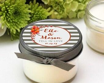 Wedding Favor Candles - Elle Label Design - Fall Wedding Favors -- Personalized Wedding Favors -- Set of 12 - 4 oz