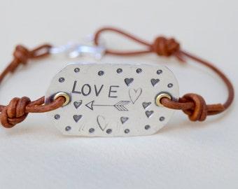 Sterling LOVE Hand Forged Bracelet . Stamped . Rustic . Leather . Boho . Stackable . Handmade . NinandBumm
