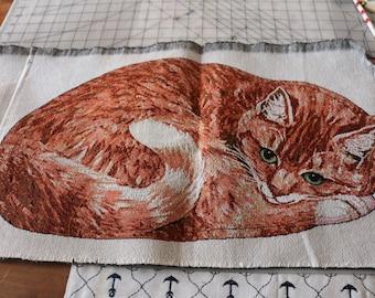 17 Orange Marmalade Cat pillow kit OR make a purse!!