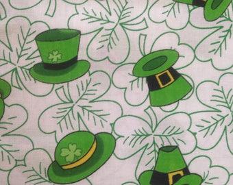 Green Clover Cotton Quilting Fabric Irish Ireland St Patrick's Day Leprechaun Hat