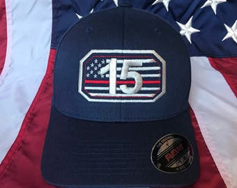 Free personalization Thin red line Fire fighter station American flag passport sheild hat, fire cap, custom fire station embroidered hat