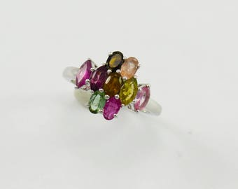 Multi-colours Tourmaline Ring