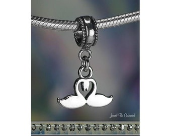 Heart with Swans Charm or European Charm Bracelet Sterling Silver Swan