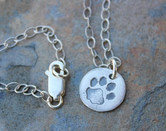 Tiny Pet Paw Print necklace: petite handmade fine silver oxidized charm -cat dog- antiqued textured sterling silver chain