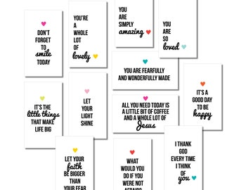 PRINTABLE Mini Inspirational Quote Cards, Collection #1, Mini Lunchbox Notes, Encouragement Cards, Cards for Kids, Digital Download