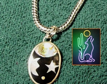Sterling Galaxy Pendant Mother of Pearl and Abalone Insets on 20 inch 4mm Round Sterling Silver Snake Chain