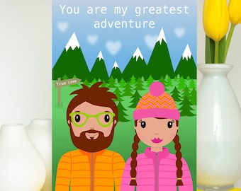 You Are My Greatest Adventure Card, Romantic Anniversary Card, Boyfriend Card, Girlfriend Card, Adventure Quote Card, Adventure Love Card