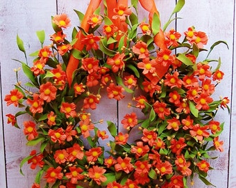 Spring Front Door Wreath-Spring Wreath-Front Door Wreath-Spring Door Wreath-Summer Door Wreath-ORANGE FLORAL Door Wreath-Floral Wreath