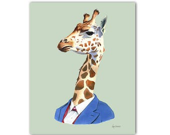 Giraffe art print - animal art - art print - modern nursery art - animals in clothes - childrens art - Ryan Berkley Illustration 8x10