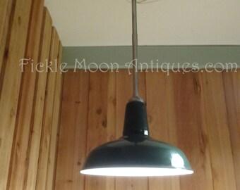Vintage Benjamin Enamel Porcelain  Barn Gas Station Industrial Hanging Lamp Fixture Restored