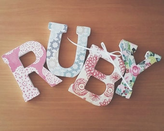 """Floral Nursery 4.75"""" Standing Letters - Made to order for special occasions, holidays, birthdays, baby showers, graduation, weddings"""