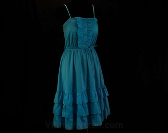 Size 10 Sun Dress - Turquoise Blue Cotton 1980s Retro - 80s Does 50s - Tux Ruffle Bodice - Full Skirt - Medium Summer 80's Dress - 46221