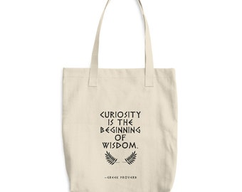 Cotton Tote Bag, philosophy, literary, literature , proverbs, wisdom, ancient greek, motivational, inspirational, literary gifts, knowledge