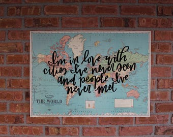 """Travel Themed Calligraphy, Hand-painted 20x28"""" Vintage World Map"""