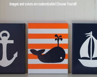Nautical Nursery Decor Painting Sailboat Anchor Whale Nursery Navy Orange White Nautical Wall Art Nautical Painting