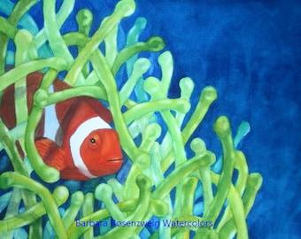 Fish Art, Clownfish Print, Clownfish Painting, Clown Fish Watercolor, Coral Reef Art, Beach Decor, Nursery Art, Clownfish Wall Art Ocean Art