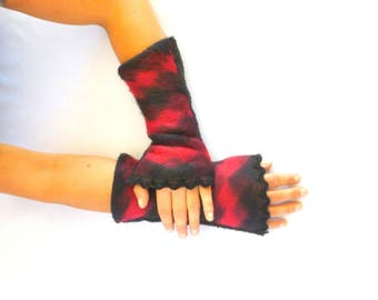 Fingerless gloves arm warmers wool black and Red lace black - women gloves