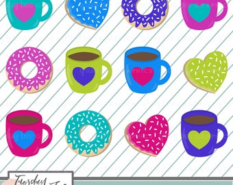 SALE! Coffee & Donut Love Clipart Set, Commercial Use, Instant Download, Digital Clipart, Digital Images- CP205