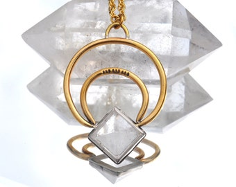 Orion Naja Crescent Moon Necklace with Clear Quartz Crystal Pyramid