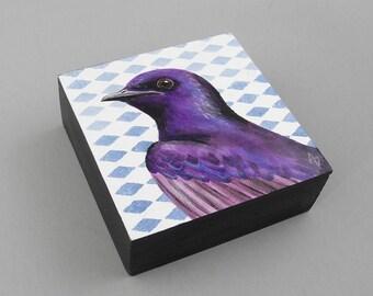 UltraViolet lila Martin Miniatur Malerei Kunst block - lila Vogel Malerei - geometrisch - violett - realistische Martin Kunst - kleines Geschenk