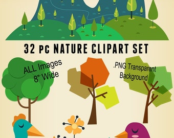 32 pc Cute Nature Clipart -  Digital Download Scrapbooking Kit - 8 inch Wide Clip Art Transparent Background PNG File Format