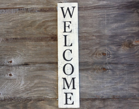 Vertical Welcome Sign Rustic Black And White Wood Decor