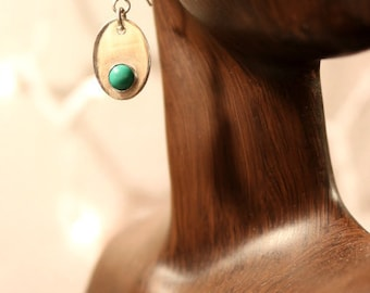 Sterling Silver Oval Earrings with Turquoise Stone