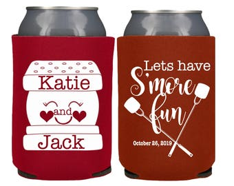 S'more's Can Coolers, S'more Wedding Favors, S'mores Wedding Bar, Lets' Have S'more Fun, Fall Wedding, S'mores Can Cooler, Camping Party