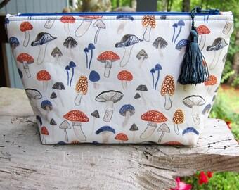 Cute Woodland Pouch | Makeup Bag | Lined Bag | Mushroom Fabric | Mushroom Fabric Makeup Bag | Small Gift Under 20 | Camera Accessory Bag