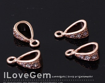 4pcs, NP-978 Rose Gold plated, Pendant Bail, Cubic Bail, Simple Bail with Open Loop