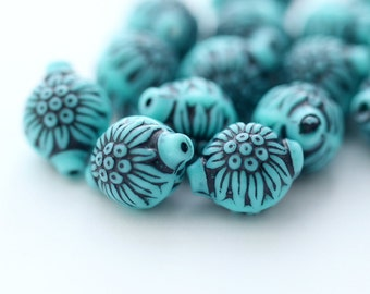 Vintage Turquoise Etched Carved Floral Oval Lantern Beads 13mm (20)