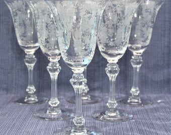 """6 Tiffin Franciscan Cherokee Rose Water Goblets Glasses 8 1/8"""" Etched Roses Medallion"""