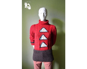 Vintage knitted sweater, very 90's style, red and brown sweater with cool denim triangles, winter turtleneck sweater, knitwear, Size S/M 86
