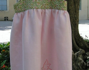 Pink linen and embroidery Butterfly flower child dress * Madame Toucan *.