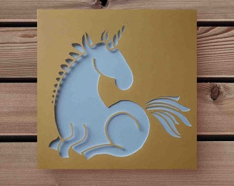 Personalisable papercut sat unicorn card - variety of colours