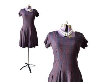 1950s dress, Plaid dress, 50s dress, schoolgirl dress, vintage dress, women's dress, small dress, vintage clothing