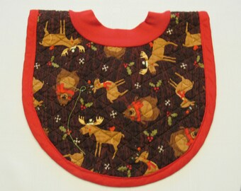 Northwoods Animals Pop-on Quilted Baby Bib