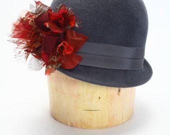 1920s Gray Velour Fur Felt Flapper Cloche Winter Hat,Grosgrain Band,Leather,Cage Veil,Silk Chiffon -Handmade Hat/Fur Hat/Couture Millinery