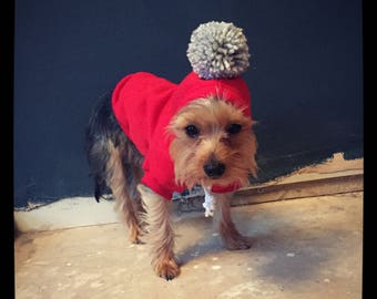 The Pom Pom pet hoodie. Dog/cat/puppy sweater jumper. Choose your bobble colour. Uk seller.