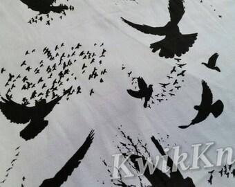 Black - Birds - White - cotton lycra - stretch - knit fabric - four way - stretch knit - fabric - bird - crow - raven - flock - knits