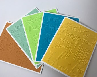 Set of 5 Embossed Thank You Cards