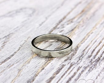 3mm simple silver band, Silver ring, Small silver band, Flat wedding band, Silver plain ring, Band for men for women, Sterling silver ring