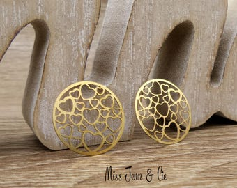 """prints 4 """"heart"""" copper round gold 19mm"""