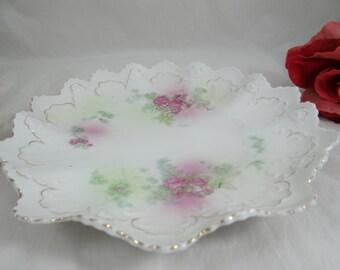 "1900s Antique Vintage ""Star"" Pink Rose Made in Austria Serving Bowl or Plate"