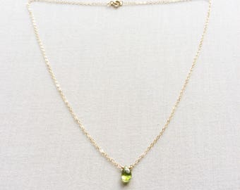 Peridot Necklace, August Birthstone Necklace, August Birthstone, Peridot Jewelry, Peridot, Tiny Peridot Necklace, 14k Peridot Necklace, BN8