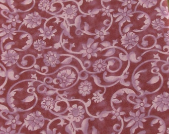 SALE!! Dusty Deep Rose Flowers and Scrolls Fabric By the Yard