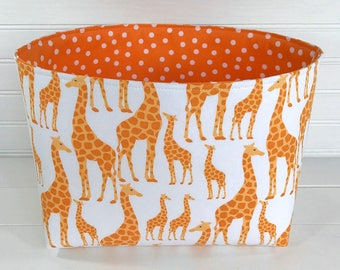 Giraffe Nursery Decor Storage Basket Room Decor Baby Shower Gift Basket Toy Storage Giraffe Animals Safari Jungle Orange