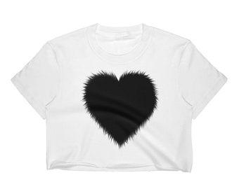 Women's Crop Top Black Heart
