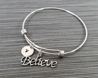 Believe Bangle Bracelet - Believe Charm Bracelet - Adjustable Bracelet Bangle - Believe Bracelet - Initial Bracelet - Inspirational Jewelry