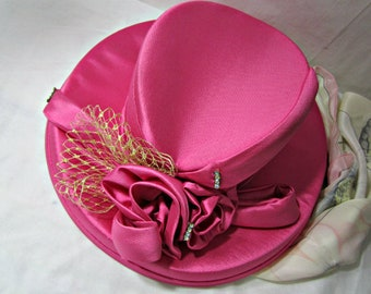 Formal hat, Silk Hat 1980s, Millinery flower, Hat with Rhinestones